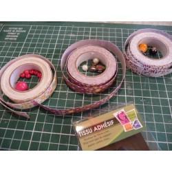 Ruban tissu adhésif Masking Tape fleurs roses