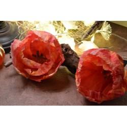 Pistils de fleur, tête rouge, tige blanche, lot de 25 pour création de fleurs (environ 40 pistils), 6 cm