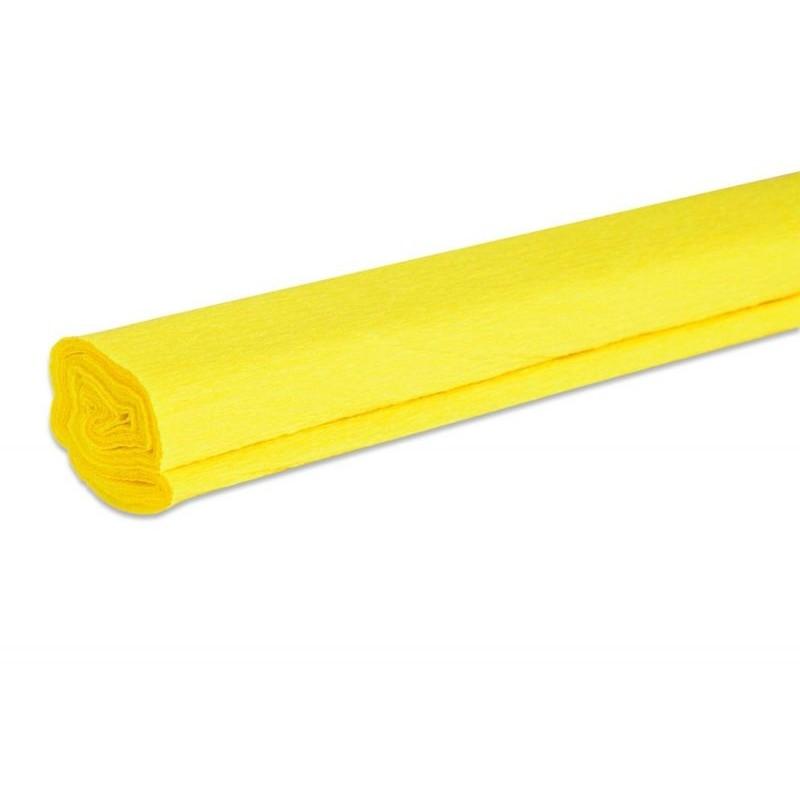 Papier crépon couleur jaune  50 cm x 200 cm (1 pièce)