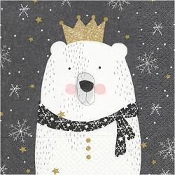 Serviette en papier Ours polaire, vendue à l'unité,  30 x 30 cm, ..Nouveauté Noël 2017 !