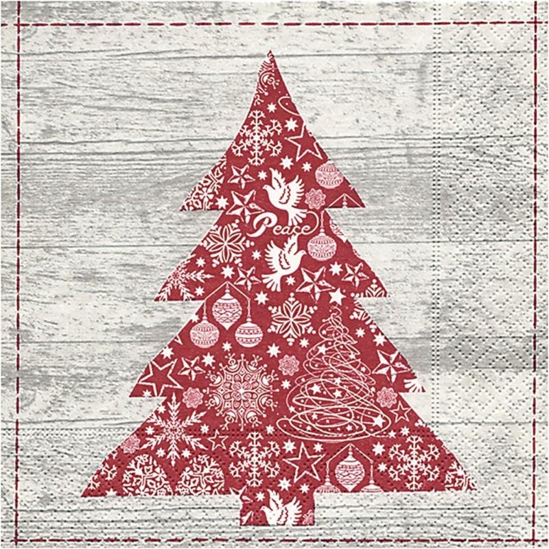 Serviette en papier Sapin de NOEL, vendue à l'unité,  30 x 30 cm  .. Nouveauté Noël 2017 !