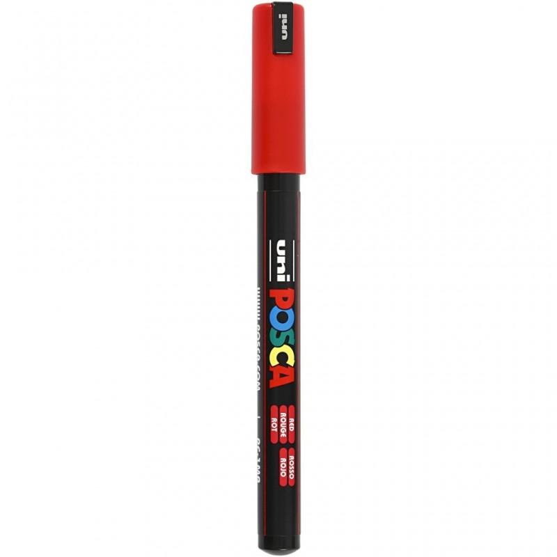 Feutre POSCA Marqueur Pointe extra fine Rouge calibre 0.7 mm (vendu à l'unité)