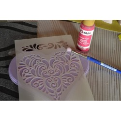 Pochoir 2 motifs Coeur & Frise