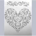 Pochoir 2 motifs Coeur & Frise A5