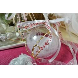Boule décorative en plastique diamètre 6 cm, séparable en 2 parties, offert 1 embout plastique argenté et 1 paroi carton