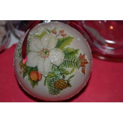 Boule décorative en plastique diamètre 8 cm, séparable en 2 parties