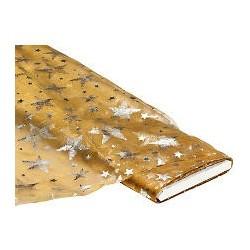 Organza fond coloris or, motifs étoiles argentées,  largeur : 150 cm, vendu par 50 cm