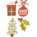 Matrice de Découpe sizzix  gabarit déco de Noël, 4 éléments,  dim. 3.49 x 3.81cm et 3.18 x 5.72cm