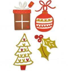 Matrice de Découpe sizzix  gabarit déco de Noël, 4 éléments,  dim. 3.49 x 3.81cm et 3.18 x 5.72cm  ..Nouveauté Noël 2017 !