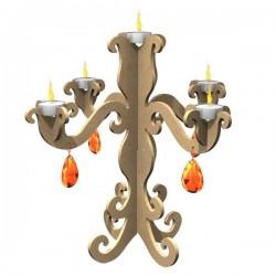 Chandelier baroque support Médium brut à monter et à customiser  Hauteur 36 cm x Largeur 39 cm ...Promo limitée !