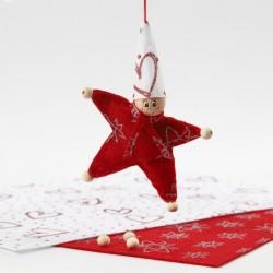 """Feutrine imprimée étoiles pailletées argentées fond Rouge """"red  design"""" format A4, vendue à l'unité, 1 mm - 21 X 30 cm"""