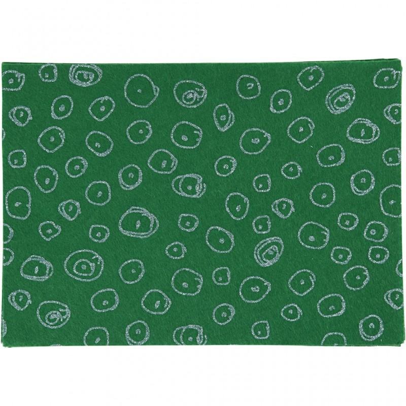 """Coupon Feutrine imprimée ronds pailletées argentées fond vert """"vert  design"""" format A4, vendue à l'unité, 1 mm - 21 X 30 cm"""