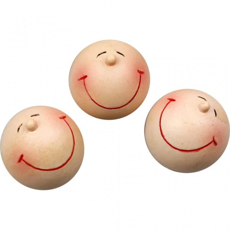 Tête, ronde, grand sourire, à coller, 20 mm, sachet de 4 pièces