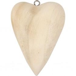 Support grand coeur  en bois mélangé,  à décorer,  à suspendre ou à poser,  1 pièce, dim. 11,5x8,5x3 cm