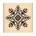 Tampon Bois, Tampon caoutchouc monté sur bois Flocon Brodé  Fantaisies Nordiques, 4 cm x 4 cm