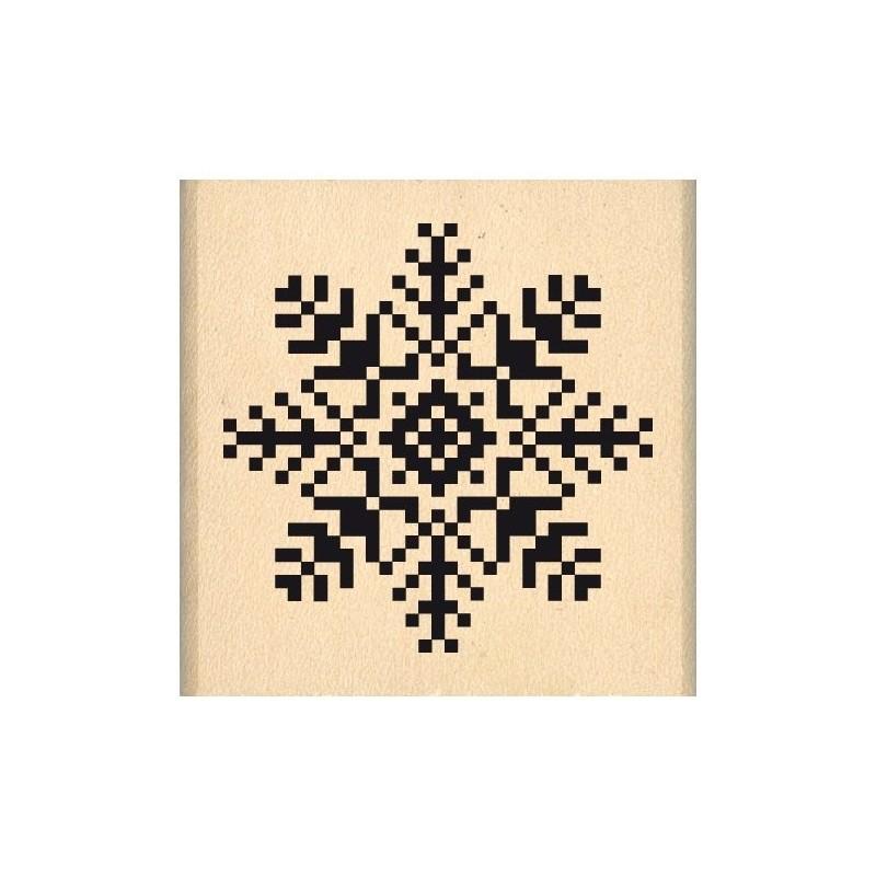 Tampon Bois, Tampon caoutchouc monté sur bois Flocon Brodé  Fantaisies Nordiques, 4 cm x 4 cm      Nouveauté NOEL 2017 !