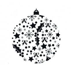 Tampon Bois, impression boule de Noël impression feuille houx, 3.5 cm x 3 cm      Nouveauté NOEL 2017 !