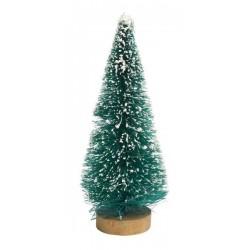 Sapins miniatures enneigés branches plastiques et pied en bois ,  lot de 5 pièces, dim. h6x l2.5cm