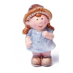 Figurine miniature fille, en terre cuite, pailleté ,  hauteur 7 cm, vendu à l'unité