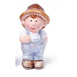 Figurine miniature garçon, en terre cuite, pailleté ,  hauteur 7 cm, vendu à l'unité