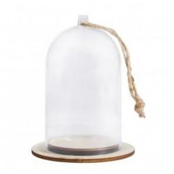 Support Cloche plastique à décorer  avec coupelle bois : environ 6cm x 8 cm, vendu à l'unité
