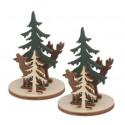 Miniatures figurines en bois prédécoupé scène hivernale biche cerf sapin lot de 2 sets