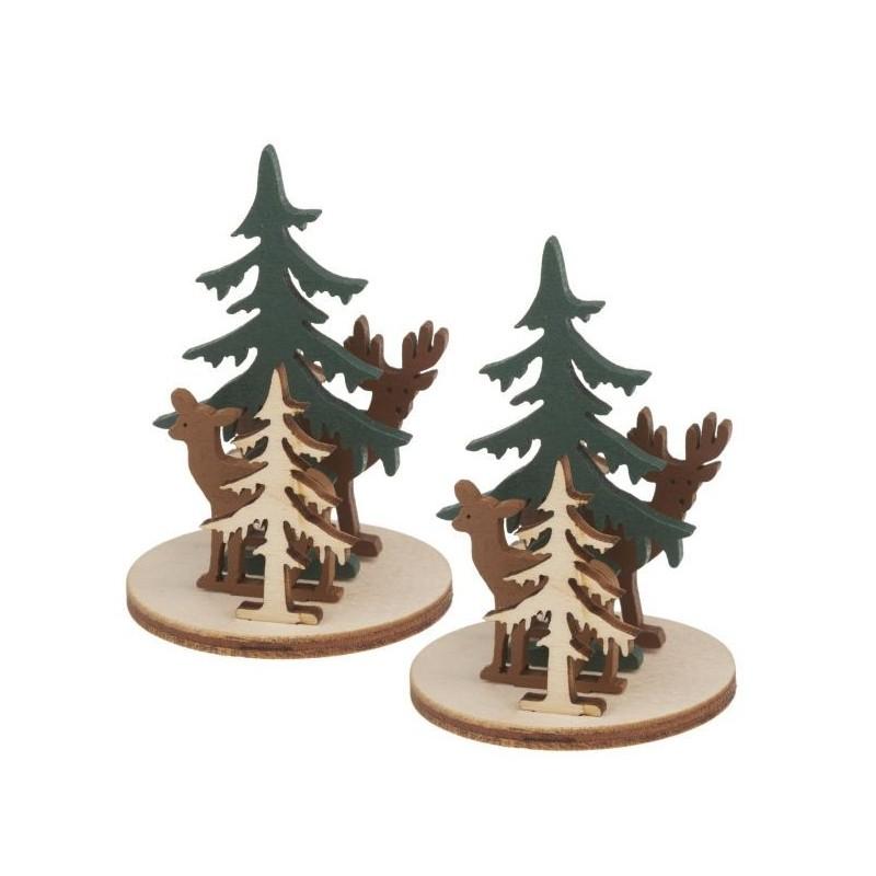 Décorations en bois , à assembler, scène hivernale biche, cerf et forêt, lot de 2 sets, dim. H 6,5 x l 3 cm