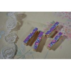 Pinces à linge décorative, en bois, lot de 6 épingles