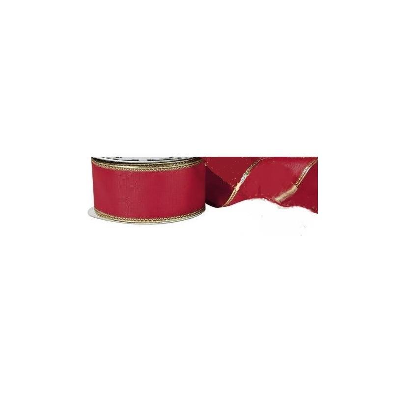 Ruban  décoratif, 100 % polyester, festif rouge avec bords laitonnés dorés , l: 2,5 m, largeur 4mm