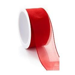 Ruban  décoratif, organza, festif rouge transparent avec bords laitonnés  , l: 5 m, largeur 4mm