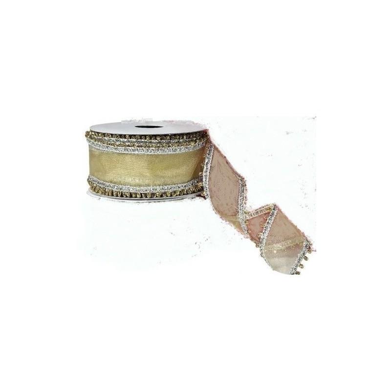 Ruban  décoratif, 100 % polyester, festif doré avec bords argentées laitonnés  , l: 2,5 m, largeur 4mm