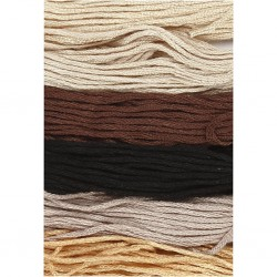 Fil  à broder, coton, coloris : harmonie naturelle, 6 brins assortis, 8mx6, épaisseur 1 mm