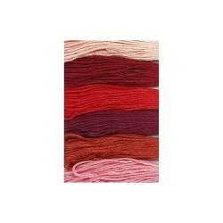 Fil  à broder, coton, coloris : harmonie Rouge, 6 brins assortis, 8mx6, épaisseur 1 mm