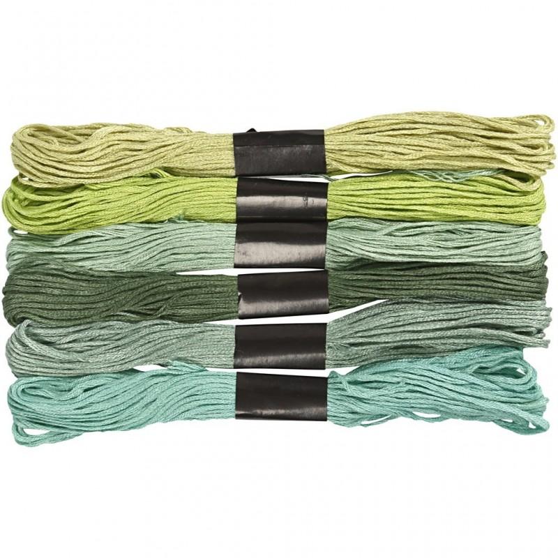 Fil  à broder, coton, coloris : harmonie de Verts, 6 brins assortis, 8mx6, épaisseur 1 mm