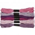 Fil  à broder, coton,  Violets, 6 brins assortis, 8mx6, épaisseur 1 mm