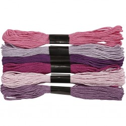 Fil  à broder, coton, coloris : harmonie de Violets, 6 brins assortis, 8mx6, épaisseur 1 mm
