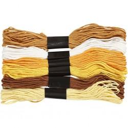 Fil  à broder, coton, coloris : harmonie de Jaunes, 6 brins assortis, 8mx6, épaisseur 1 mm