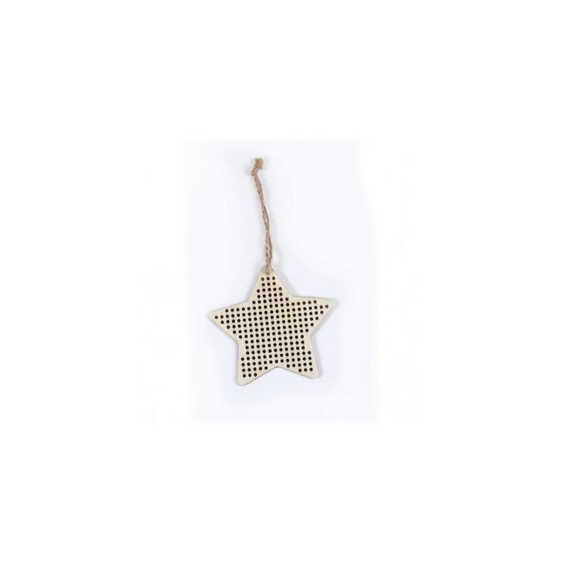Suspension en bois étoile à Broder, déco de NOEL, 9 cmx9 cm