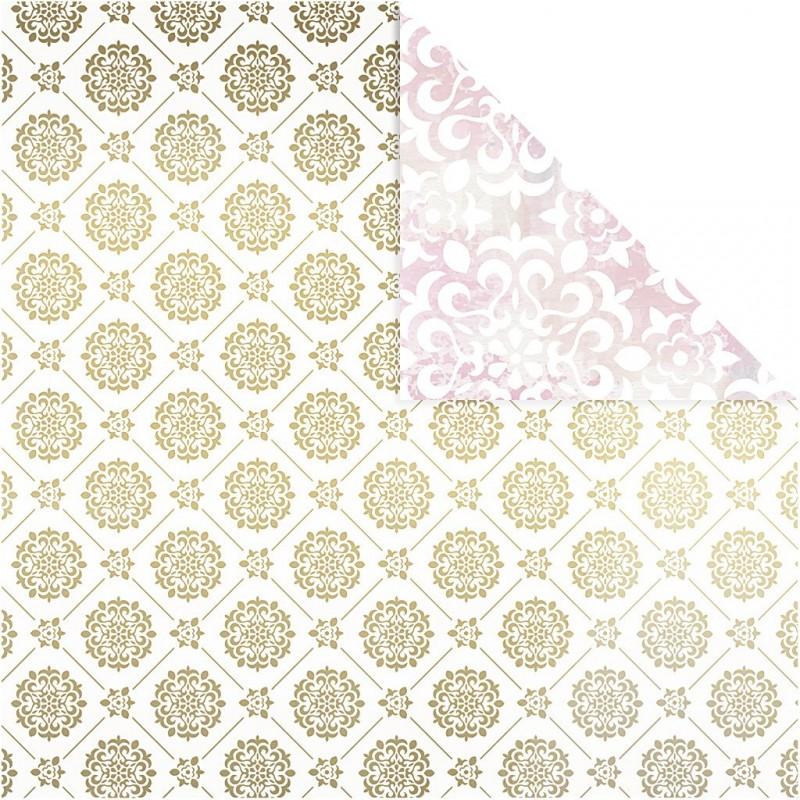 Papier Scrap Design Métallique & Aquarelle double face 30.5 X 30.5 CM  1 feuille avec imprimé Recto Verso