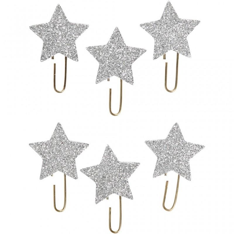 Trombonnes métalliques fantaisie étoiles, glitter argent, d: 30 mm, lot  6pièces