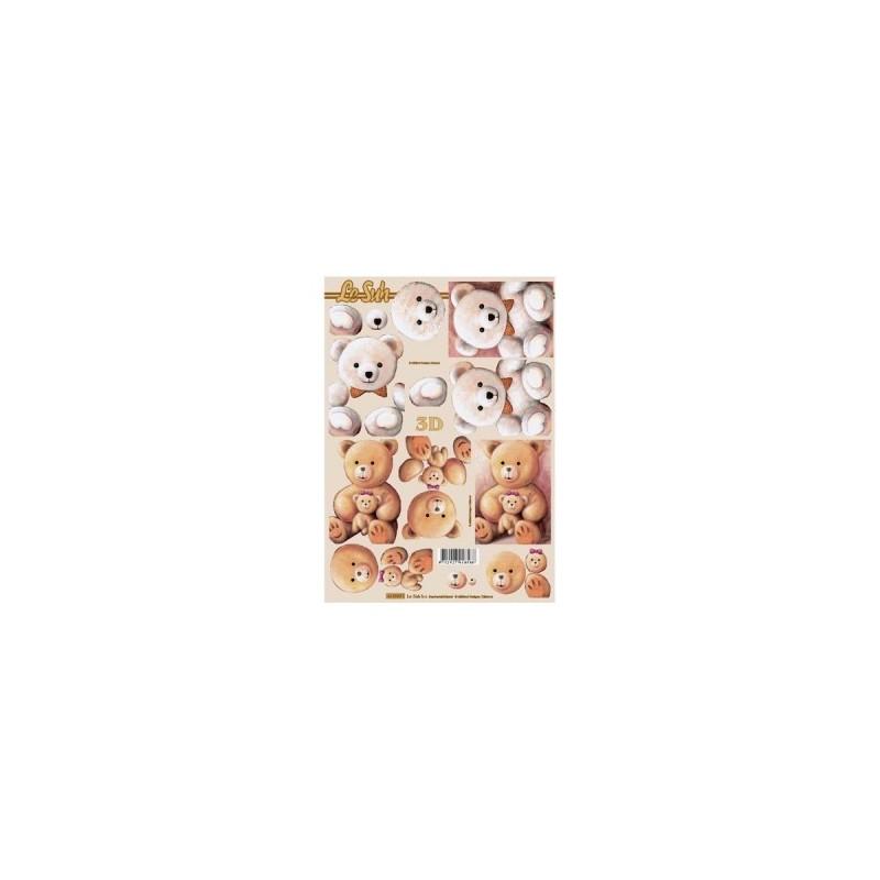 """Carte 3 D Planche Motifs 3D """"Ours et Oursons"""" 2 cartes à réaliser (Technique du 3 D)"""
