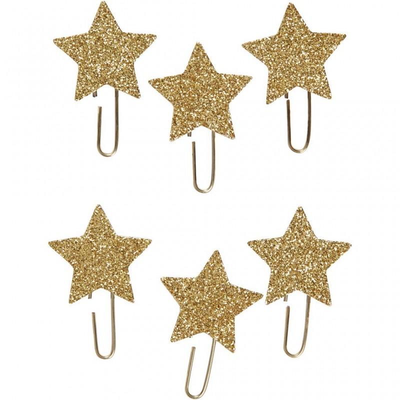 Trombonnes métalliques fantaisie étoiles, glitter doré, d: 30 mm, lot  6pièces
