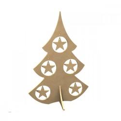 Sapin avec 5 étoiles amovibles, support Médium brut à monter , à customiser  Hauteur 38 cm x Largeur 26 cm