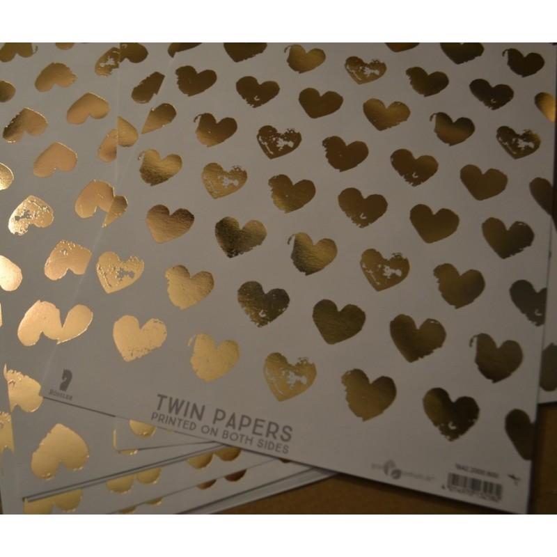 Papier décoré A4 'Rössler Papier,Twin' Coeurs dorés, 1 feuille avec imprimé Recto Verso