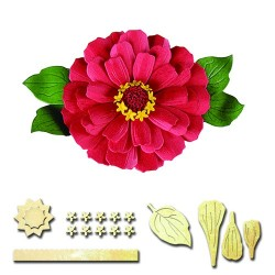 Matrice de Découpe fleur chrisanthème et ses feuilles, spellbinders  5 éléments, diamètre fleur environ 6 cm