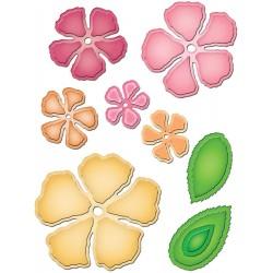 Matrice de Découpe fleur Rose création et ses feuilles, spellbinders  9 éléments, de différents diamètres environ 2.5 cm à 7 cm