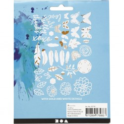 Etiquettes Aquarelle avec motifs dorés, dimension 1,5-10 cm, lot 44 étiquettes assorties