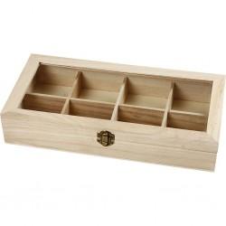 Boîte en bois, avec fermeture métallique, vitrine et compartiments, à décorer, thé et divers, (dim. 32x16x6 cm)