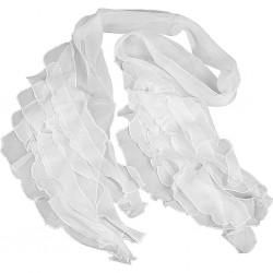 Foulard étole froissée en mousseline de Soie, blanc, à peindre ou à customiser, dimension 20x195 cm, 1pièce