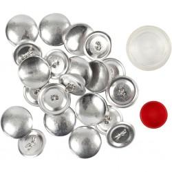 """Boutons """"fabrique à boutons"""", kit création de boutons en tissu, base acier inoxydables, pour créations 12 boutons d: 22 mm"""